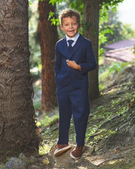 Joey Safari Indigo Suit ringbearer, tuxedos, black tie, mens wearhouse, safari, linen