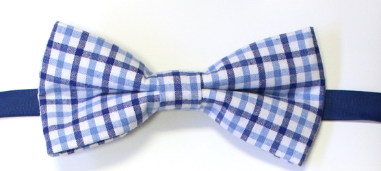 Blue Check Bow tie 108