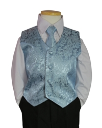 Blue Jacquard Vest and tie