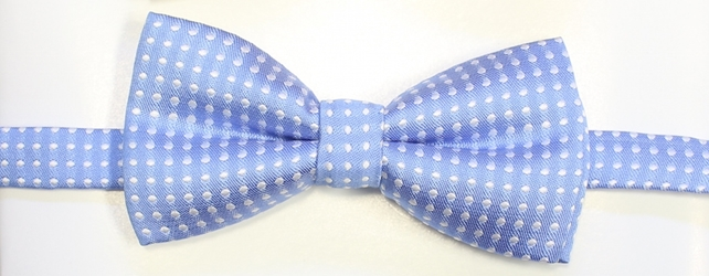 Light blue polka Bow tie 115
