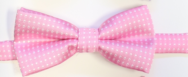 Light pink polka Bow tie 117