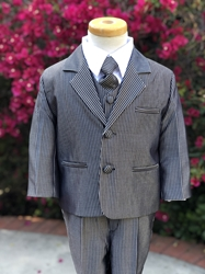 Teddy B Silver Strip boys suit, boys tuxedo, ring bearer, flower girl, black tie formal, usher, cute ring bearer, ring security , boys formalwear