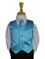 Turquoise Vest and Long tie